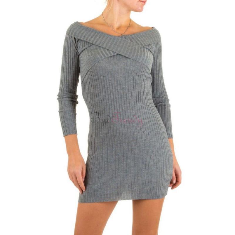 a6e7223ef92b akce Pohodlné šedé svetrové šaty