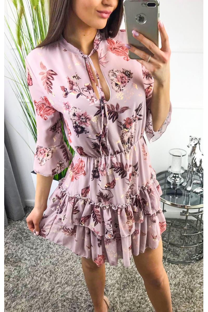 7f73b16098 Šifónové kvetinové šaty vo fialovej farbe